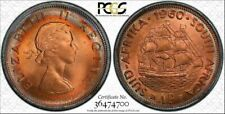 1960 SOUTH AFRICA ONE PENNY BU PCGS MS65RD COLOR TONED COIN FOUR GRADED HIGHER