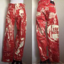 """Rare Vtg Jean Paul Gaultier Jean's """"Fight Racism"""" Pants Sz 48 M"""