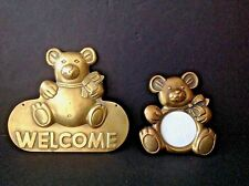 Lot 2 VTG Solid Brass Welcome Sign Teddy Bear Baby Room Wall/Door Plaque & Frame