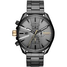 NEW Diesel Men's MS9 Grey Sun-Ray Chrono Black IP Case Gunmetal Watch DZ4474