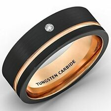Mens Wedding Band 8mm Black Brushed Tungsten Ring Rose Gold New*