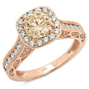 1.95 Round Cut Halo Natural Morganite Promise Bridal Wedding Ring 14k Rose Gold