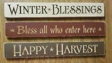 Lot of 3 Country Primitive Long Wooden Signs Folk Art Wall Mount