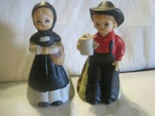 Vintage Lego Bell Ceramic Made Japan Boy and Girl Pair Amish