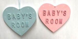 Gisela Graham Light Blue & Light Pink Polka Dot Heart Baby's Room Sign Plaque