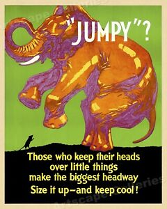Jumpy? Size It Up and Keep Cool 1920s Work Incentive Motivational Poster - 24x30