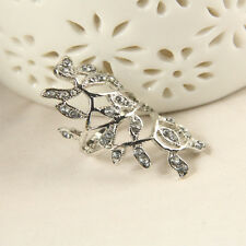 New Brand Hot Chic Design Fashion Crystal Long Branch Leaves Aolly Ring