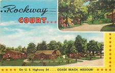 Osage Beach Missouri~Rockway Court~On U.S. Highway 54~1940s Art Deco Postcard