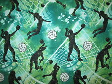 Volleyball Sports Net Goal Overall Green White Cotton Fabric FQ