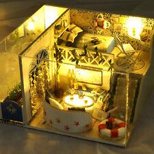 Child Birthday  Gifts DIY Cabin Doll Houses Beach Theme Sea Dollhouse Miniature