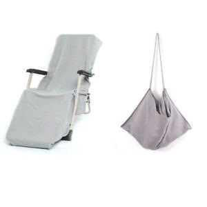 Portable Microfiber Beach Pool Sun Lounge Chair Cover Pocket Towel Bag w/ B1X1
