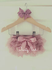 Baby Girls Frilly Tutu Knickers & Bow Clip Dusty Pink Cake Smash Outfit Prop Set