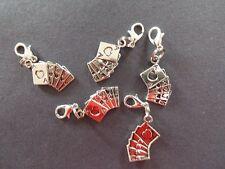 LUCKY ROYAL FLUSH 5 CARD STUD POKER HAND silver tone clip on bracelet charm