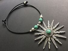 BLACK Leather Choker necklace with a Tibetan Silver Sun pendant And Turquoise