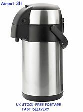 Hot Drinks Container Airpot Flask Dispenser 3Lt Tea Coffee Office Picnic Travel