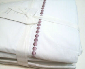 Pottery Barn Lavender Purple Pearl Embroidered Organic Cotton Full Sheet Set New