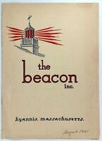 1941 THE BEACON Restaurant Hyannis Massachusetts Original Vintage Menu