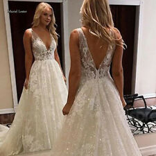 Bling Bling Wedding Dresses Deep V Neck Sleevelses Bridal Gowns Appliques Custom