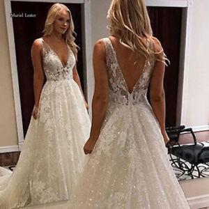 Bling Bling Wedding Dresses Deep V Neck Sleevelses Bridal Gowns Appliques Custom