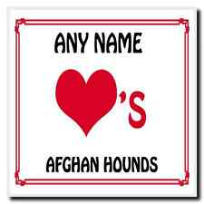 Love Heart Afghan Hounds Personalised Coaster
