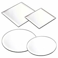 Round Square Mirror Candle Plate Cake Stand Wedding Centrepiece Table Bevel Edge