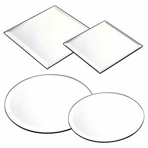 Round Square Mirror Candle Plate Cake Stand Centrepiece Wedding Table Bevel Edge