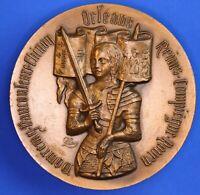 French bronze medallion: Joan of Arc La maison de Jehanne à Domrémy 68mm [18734]