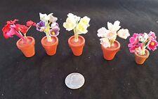 Dollhouse Miniature Set of 5 Garden Wood Flower Pots with Fabric Flowers