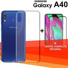 """SAMSUNG  GALAXY A40 5,9"""" protector cristal completo 3d vidrio templado + funda"""