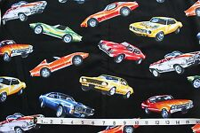 Timeless Treasures Muscle Classic Race Cars Black Fabric 100% Cotton Quilt 2005