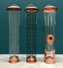 Large Copper Style Bird Feeders Seed, Nut & Fatball Set of 3 - Damage Box Stock