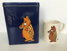 UNIQUE VINTAGE Tom Puss Coffee Cup and Metal Can by Marten Toonder