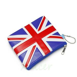 UK Flag PVC Purse Coin Bag Zip Wallet Make-Up Case Key Cosmetics Card Pouch