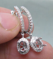 OVAL CUT SOLID 14K WHITE GOLD NATURAL DIAMOND SETTING SEMI EARRINGS MOUNT E0006
