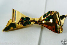 Green Marquis Cut Stones Bow Pin Vintage Coro Gold Plate Sterling Silver Emerald