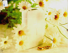 """Wedding Bulletin White, Yellow, Daisy, Bible, Bands/Rings 8.5"""" x 11""""  PACK OF 50"""