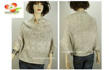 Celebrity Women Dolman Tweed Poncho Cable Knitted Pullover Outerwear Sweater Top