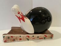 Vintage Bowling Ball & Pins Ceramic Planter By Rubens With Foil Sticker