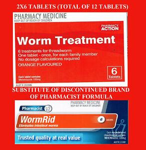 => 2X6 (12) TABLETS Pharmacy Action Worm treat = PF THREAD WORM RID Combantrin1