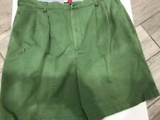 Tommy Hilfiger VTG Green Chino Cotton Summer Shorts Size 38 Box Flag Logo