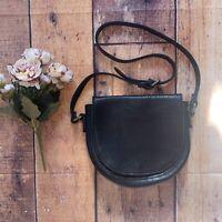 Women's Duluth Trading Co Blk Leather Purse Saddle Satchel Bag Crossbody (Sx)