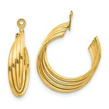 Earring Jackets 21mm X 5mm 14k 14kt Yellow Gold Polished Hoop