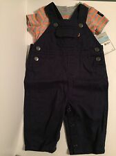 Carter's 6M Grey/Orange/Blue Little Pilot In Training Baby Boy Overall Layette