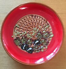 """Vintage Spanish Hand Painted Texture Ceramic Red Decorative Plate Dish 5"""" Spain"""