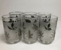 Vintage Libbey Frosted Leaf Design Glasses Set Of 6 Gray, Silver, Black Leaves