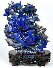 Natural Lapis Lazuli Bird Flower Statue Gemstone Carving Sculpture Deco Art