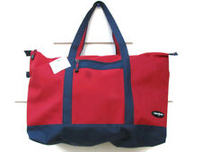 """Samsonite Yacht Tote Hand Carry On Bag Large Canvas Red w/ Blue Trim 24"""" NWT"""