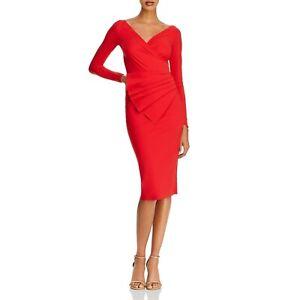 NWT La Petite Robe Chiara Boni Kaya Pleated Red Dress 12/48 Italy $695