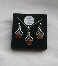 Baltic Amber Celtic Earrings And Necklace Set. 925 Sterling Silver.