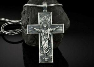 Ascension Kreuz Christus Kruzifix Heilige Anhänger Halskette Oxidiert 925 Silber